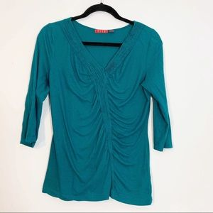 Elle 3/4 Sleeve Shirt with Cinched Front - Large